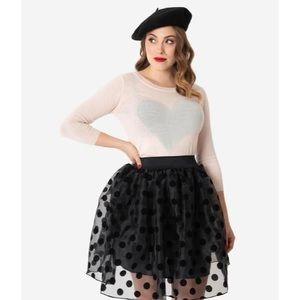 Unique Vintage Black Polka Dot Skirt